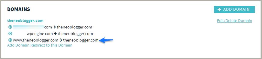 WPEngine-domain-redirection-theNeoBlogger